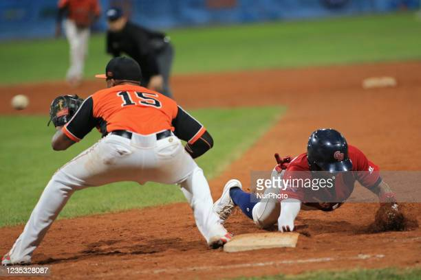 Ray-Patrick Didder and Alex Crosby at the first base during the Baseball match Baseball European Championship 2021 - Quarter finals - Netherlands vs...