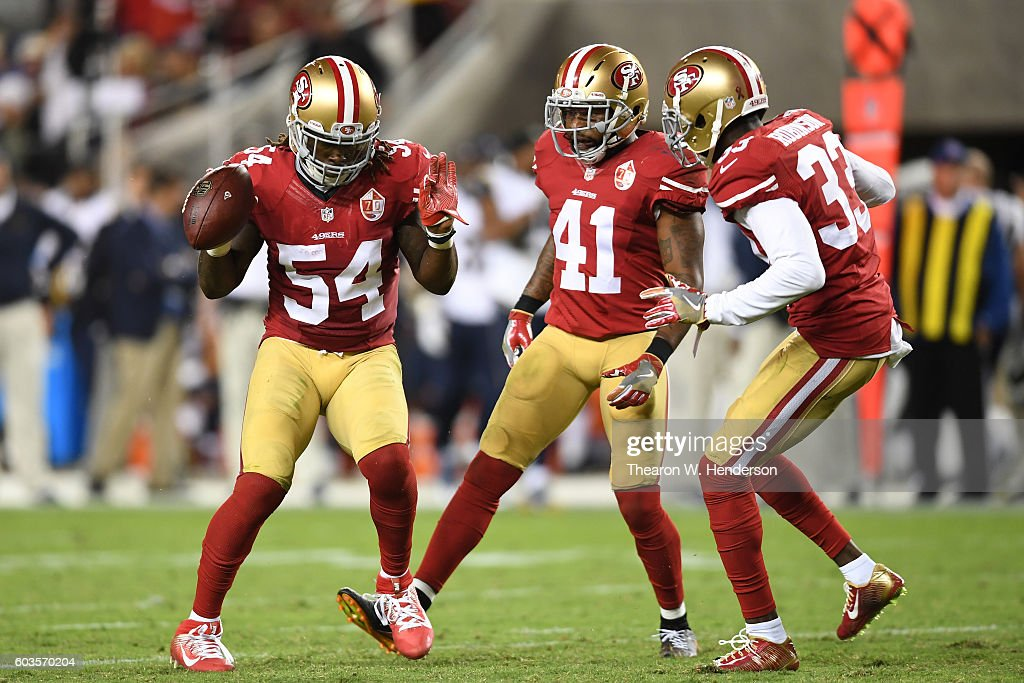 Ray-Ray Armstrong #54 of the San Francisco 49ers reacts after intercepting a pass by Case Keenum #17 of the Los Angeles Rams during their NFL game at Levi's Stadium on September 12, 2016 in Santa Clara, California.