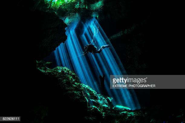 Rays of light in underwater caves