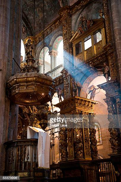 rays of light next to altar in cathedral - santiago de compostela stock pictures, royalty-free photos & images