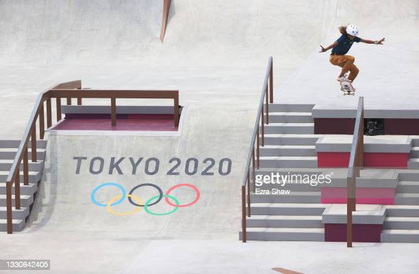 Rayssa Leal of Team Brazil competes during the Women's Street Final on day three of the Tokyo 2020 Olympic Games at Ariake Urban Sports Park on July...