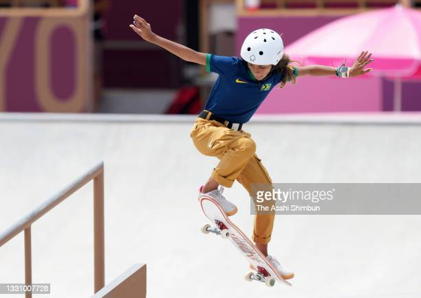 Rayssa Leal of Team Brazil competes in the Women's Street final on day three of the Tokyo 2020 Olympic Games at Ariake Urban Sports Park on July 26,...