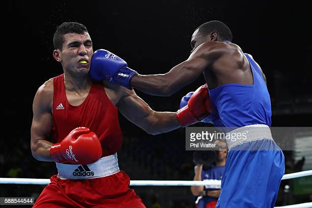 Rayton Nduku Okwiri of Kenya fights Mohammed Rabii of Morocco in their Mens Welterweight bout on Day 6 of the 2016 Rio Olympics at Riocentro Pavilion...