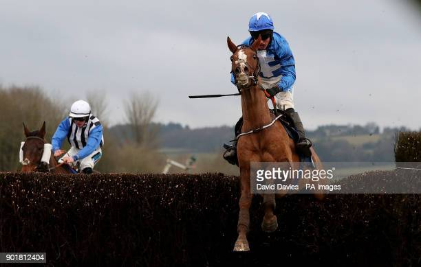 Raz De Maree ridden by James Bowen on their way to victory in the Coral Welsh Grand National Handicap Chase during Coral Welsh Grand National Day at...