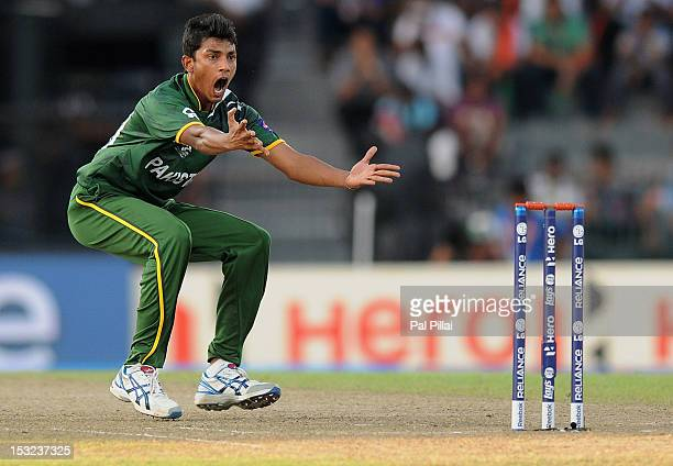 Raza Hasan of Pakistan appeals successfully for the wicket of Shane Watson during the ICC World Twenty20 2012 Super Eights Group 2 match between...