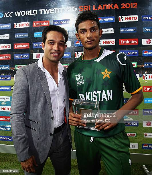 Raza Hasan of Pakistan pictured with his 'Man of the Match' award during the ICC World Twenty20 2012 Super Eights Group 2 match between Australia and...