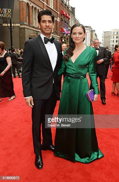 Raza Jaffrey and Lara Pulver arrive at The Olivier Awards with Mastercard at The Royal Opera House on April 3 2016 in London England