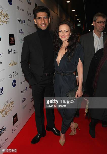 Raza Jaffrey and Lara Pulver attends the 16th Annual WhatsOnStage Awards at The Prince of Wales Theatre on February 21 2016 in London England