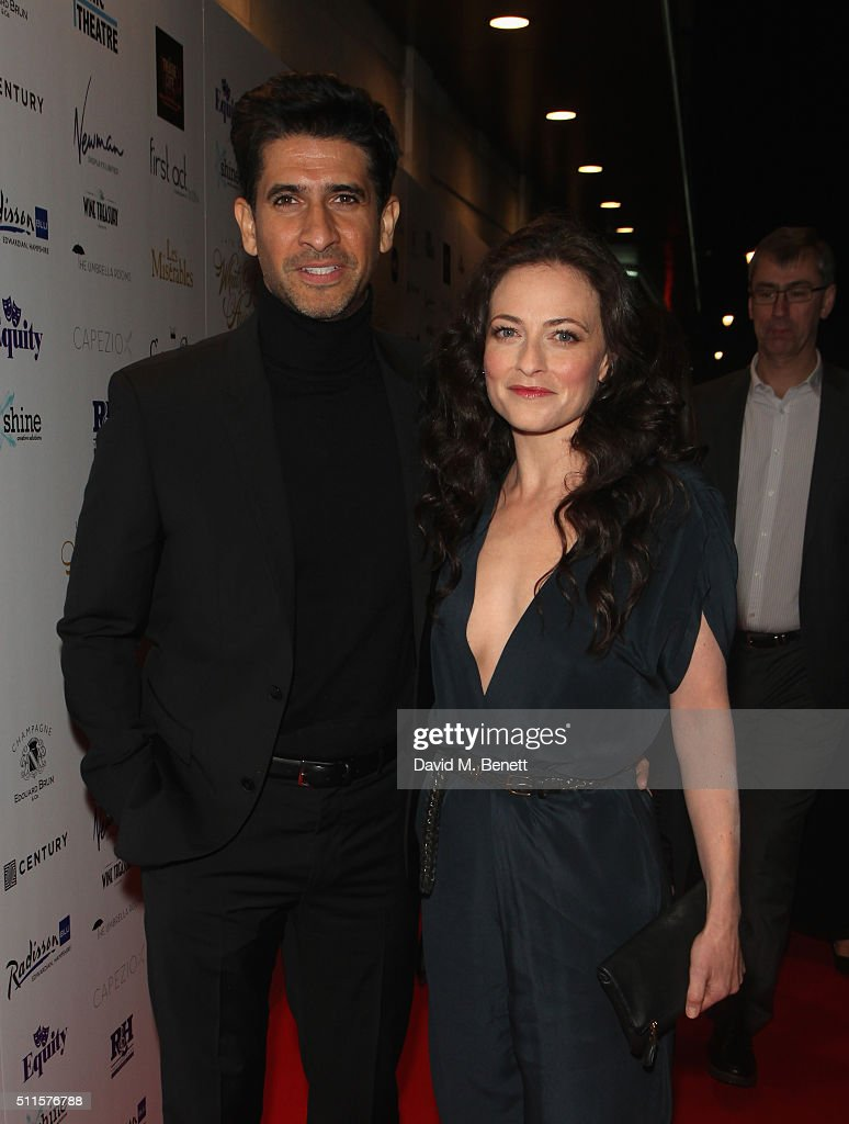Raza Jaffrey and Lara Pulver attends the 16th Annual WhatsOnStage Awards at The Prince of Wales Theatre on February 21, 2016 in London, England.