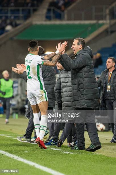 Razgrad's coach Dimitar Dimitrov celebrates the 11 goal with Anicet Abel during the Europa League group C soccer match between 1899 Hoffenheim and...