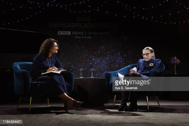 Razia Iqbal interviews Justice Ruth Bader Ginsburg onstage at the Fourth Annual Berggruen Prize Gala celebrating the 2019 Laureate Supreme Court...