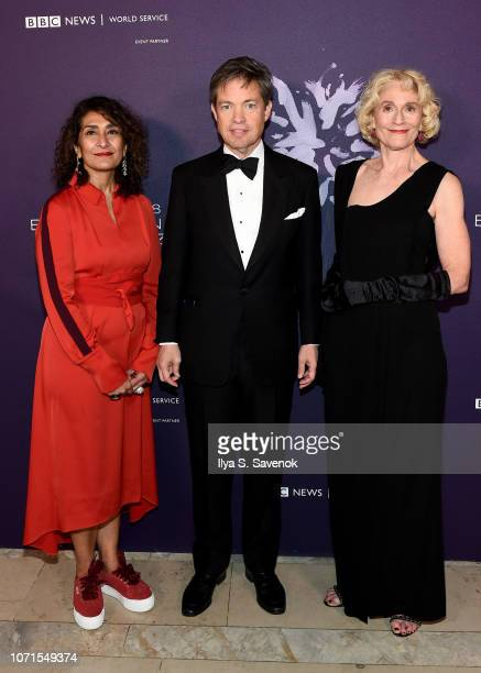 Razia Iqbal Nicolas Berggruen and Martha Nussbaum attend the Third Annual Berggruen Prize Gala at the New York Public Library on December 10 2018 in...