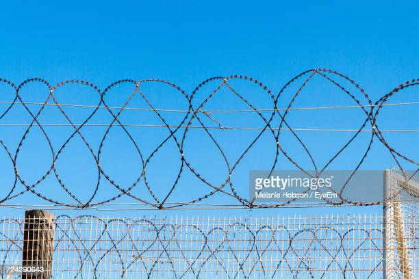 Razor Wire Fence Against Clear Sky