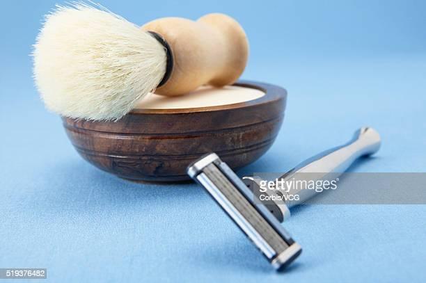 Razor with Shaving Brush and Soap