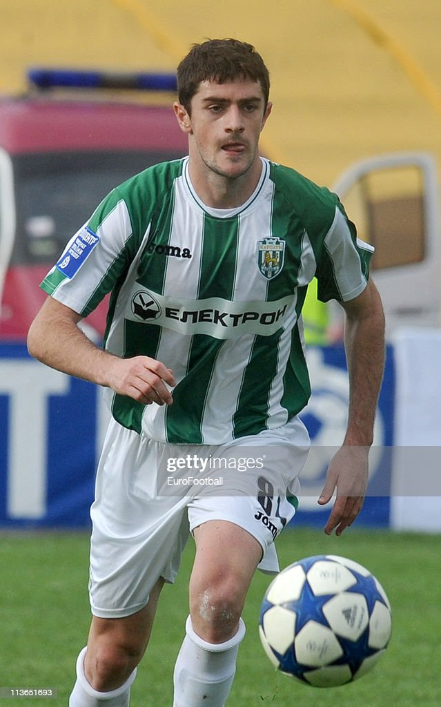 Razvan Cocis of FC Karpaty in action during their Ukrainian Premier League match against FC Metalist Kharkiv on April 30, 2011 in Kharkiv, Ukraine.