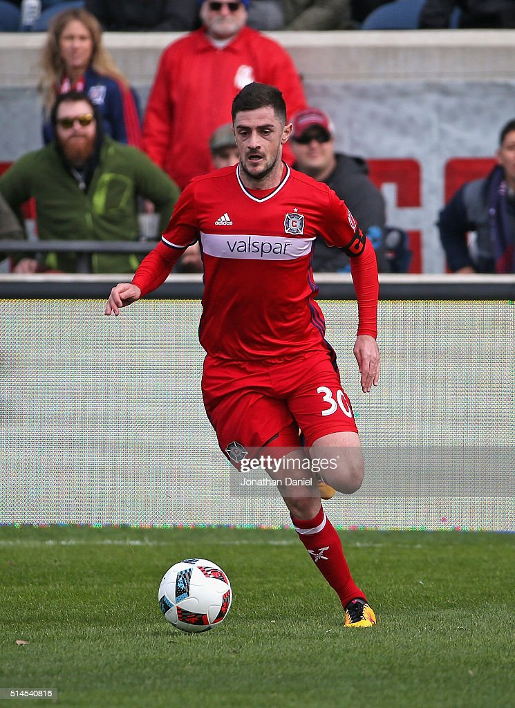 Razvan Cocis #30 of the Chicago Fire advances the ball against the New York City FC at Toyota Park on March 6, 2016 in Bridgeview, Illinois. The New York City FC defeated the Fire 4-3.