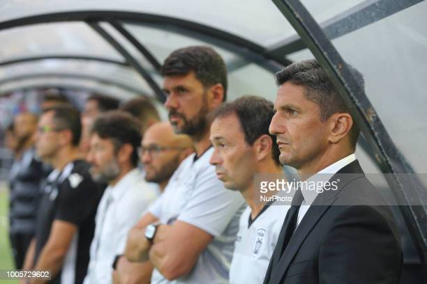 Razvan Lucescu coach of Paok during Champions League second qualifying round first leg football match between PAOK FC and FC Basel at the Toumba...