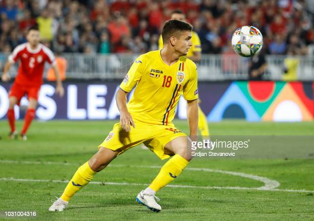 Razvan Marin of Romania in action during the UEFA Nations League C group four match between Serbia and Romania at stadium Partizan on September 10...