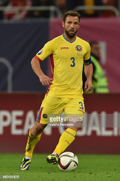 Razvan Rat of Romania in action during the UEFA EURO 2016 Qualifier between Romania and Finland on October 8 2015 in Bucharest Romania