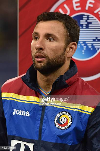 Razvan Rat of Romania looks on during the UEFA EURO 2016 Qualifier between Romania and Finland on October 8 2015 in Bucharest Romania