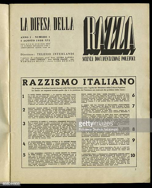 'La Difesa della Razza' or 'The Defence of the Race': the manifesto of italian racism, developed in 10 points by a group of university professors,...
