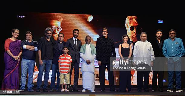 Balki Dhanush Amitabh Bachchan Akshara Haasan and Abhishek Bachchan at the music launch of Shamitabh and celebrating 1000 films of Ilaiyaaraaja music