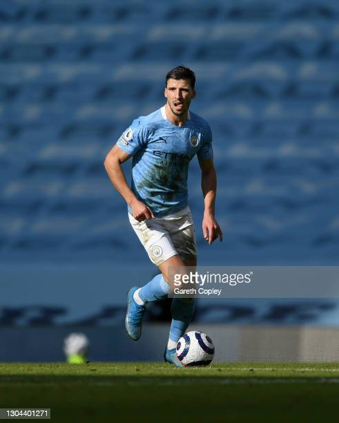 Rúben Dias of Manchester City during the Premier League match between Manchester City and West Ham United at Etihad Stadium on February 27, 2021 in...