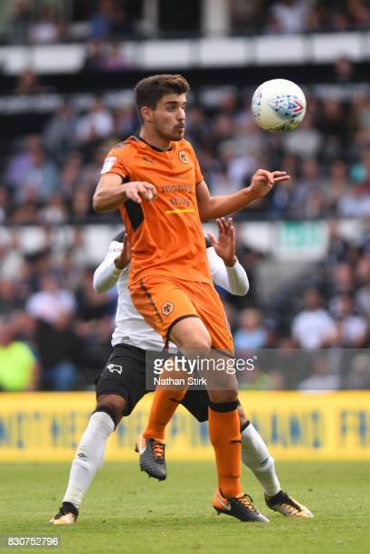Rúben Neves of Wolves in action during the Sky Bet Championship match between Derby County and Wolverhampton at iPro Stadium on August 12 2017 in...