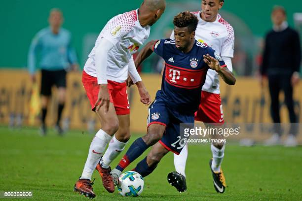 rBernardo of RB Leipzig Kingsley Coman of FC Bayern Munchen during the German DFB Pokal match between RB Leipzig v Bayern Munchen at the Red Bull...