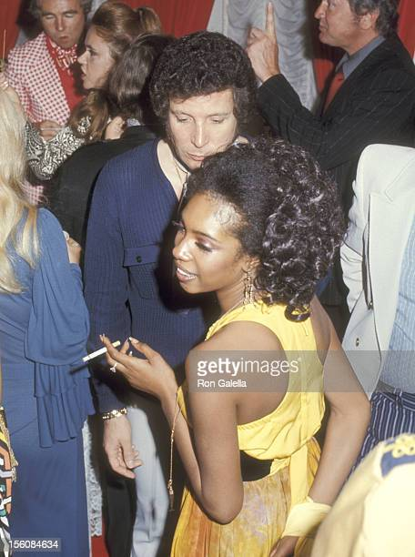 RB/Soul Singer Mary Wilson and Singer Tom Jones partying backstage after Tom Jones Opening on April 16 1971 at Caesars Palace in Las Vegas Nevada