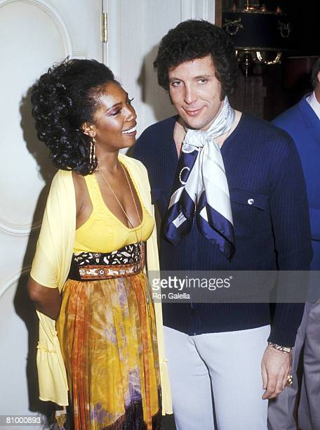 Soul Singer Mary Wilson and Singer Tom Jones partying backstage after Tom Jones Opening on April 16 1971 at Caesars Palace in Las Vegas Nevada