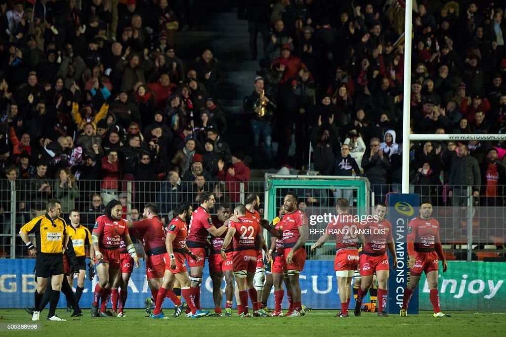 RCToulon's players celebrate after scoring a try during the European Champions Cup rugby union match RC Toulon vs Wasps on January 17, 2016 at the Mayol stadium in Toulon, southeastern France.
