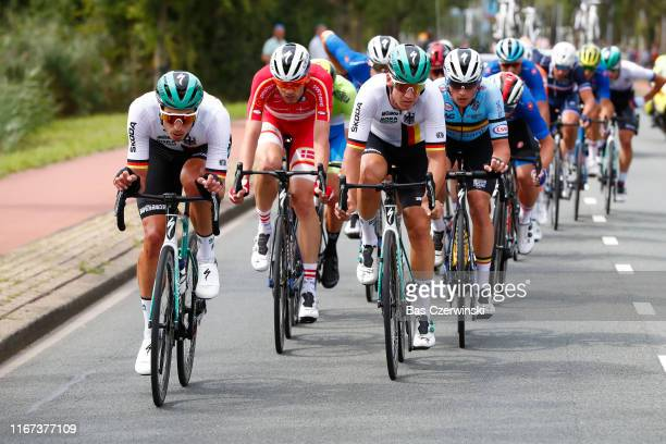 Rüdiger Selig of Germany / Kasper Asgreen of Denmark / Pascal Ackermann of Germany / Yves Lampaert of Belgium / during the 25th UEC Road European...