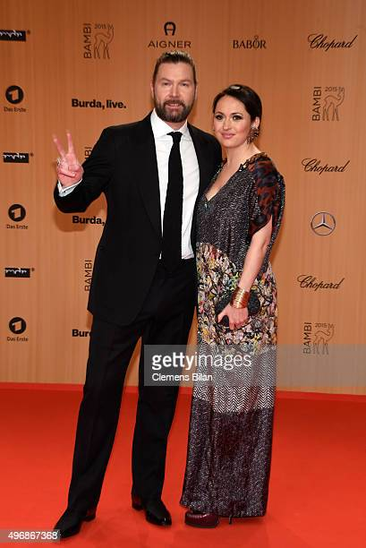 Rea Garvey and his wife Josephine Garvey attend the Bambi Awards 2015 at Stage Theater on November 12 2015 in Berlin Germany