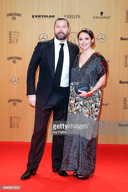 Rea Garvey and his wife Josephine Garvey attend the Kryolan At Bambi Awards 2015 Red Carpet Arrivals on November 12 2015 in Berlin Germany