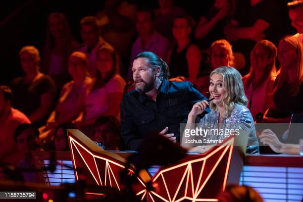 Rea Garvey and Ruth Moschner during the first liveshow of The Masked Singer at Coloneum on June 27 2019 in Cologne Germany