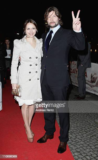 Rea Garvey and wife Josephine Garvey arrive for the Musik Hilft charity dinner at Grill Royal on March 23 2011 in Berlin Germany
