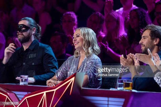Rea Garvey Ruth Moschner and Max Giesinger during the first liveshow of The Masked Singer at Coloneum on June 27 2019 in Cologne Germany