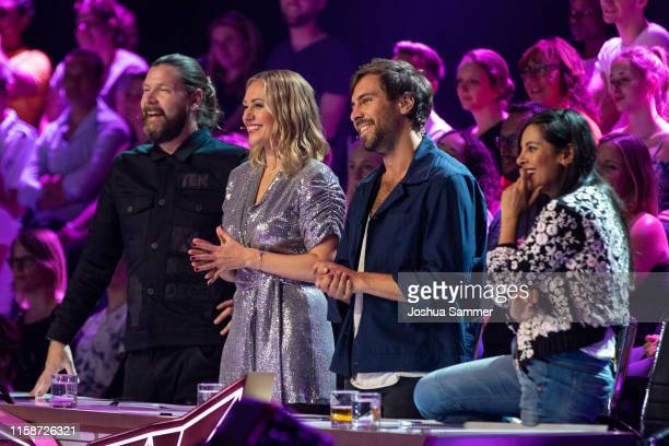 Rea Garvey Ruth Moschner Max Giesinger and Collien UlmenFernandes during the first liveshow of The Masked Singer at Coloneum on June 27 2019 in...