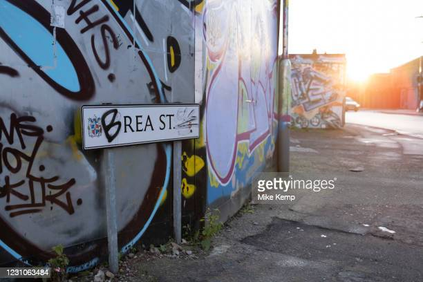 Rea Street in Digbeth has its street sign regularly defaced in an amusing way spelling out the word breast on 7th January 2021 in Birmingham, United...