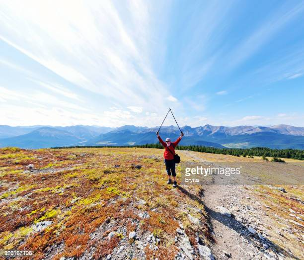 reaching the top of the mountain - kananaskis country stock pictures, royalty-free photos & images