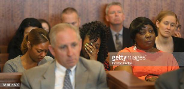 Reacting to the judge's ruling in Fall River MA on May 9 2017 are Shaneah Jenkins left Odin Lloyd's girlfriend and his sister Olivia Ward center...