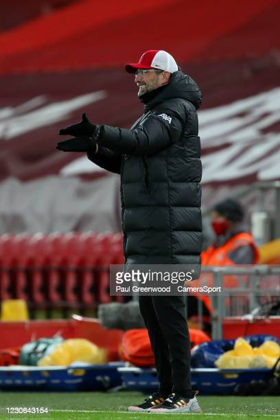Reaction from Liverpool manager Jurgen Klopp during the Premier League match between Liverpool and Manchester United at Anfield on January 17, 2021...