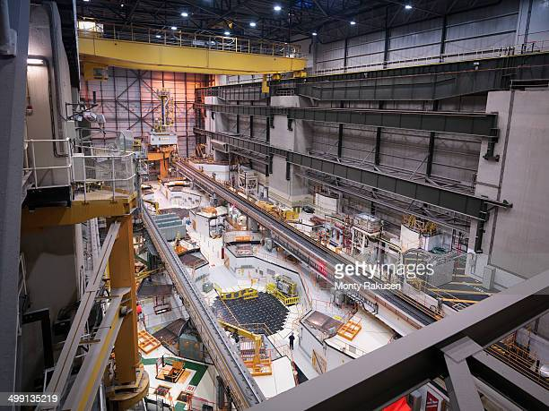 reactor hall in nuclear power station, high angle view - nuclear reactor stock pictures, royalty-free photos & images