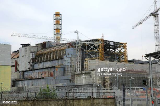 reactor no. 4 of chernobyl nuclear power plant - chernobyl stockfoto's en -beelden