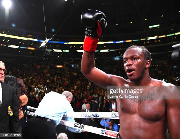 KSI reacts after it was announced he defeated Logan Paul in their pro debut fight at Staples Center on November 9 2019 in Los Angeles California KSI...
