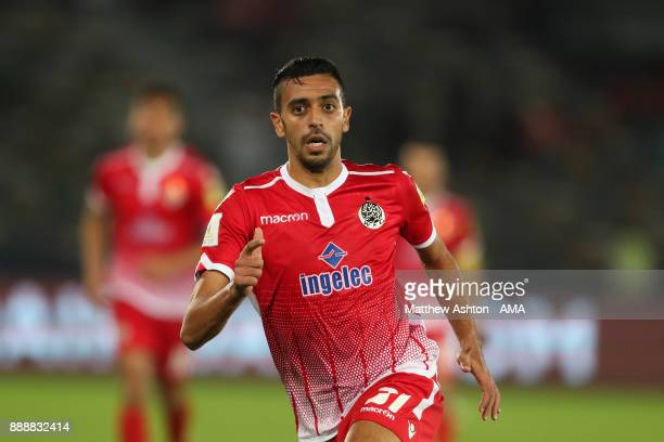 Read Hajhouj of Wydad Casablanca in action during the FIFA Club World Cup UAE 2017 match between CF Pachuca and Wydad Casablanca at Zayed Sports City...