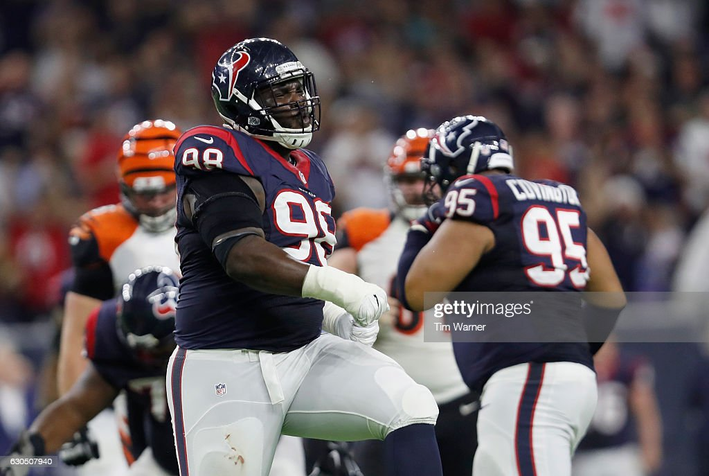 D.J. Reader #98 of the Houston Texans celebrates after a sack in the third quarter against the Cincinnati Bengals at NRG Stadium on December 24, 2016 in Houston, Texas.