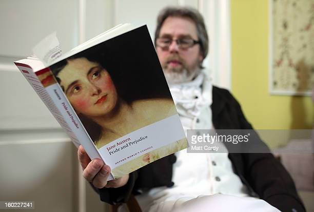 A reader waits as parttime actor Ashley Green reads chapter ten of Jane Austen's Pride and Prejudice at the Jane Austen Centre on January 28 2013 in...