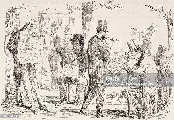 Readers of newspapers under chestnut trees in the Tuileries garden Paris France illustration by HenriAlfred Darjou from the Journal pour rire Journal...